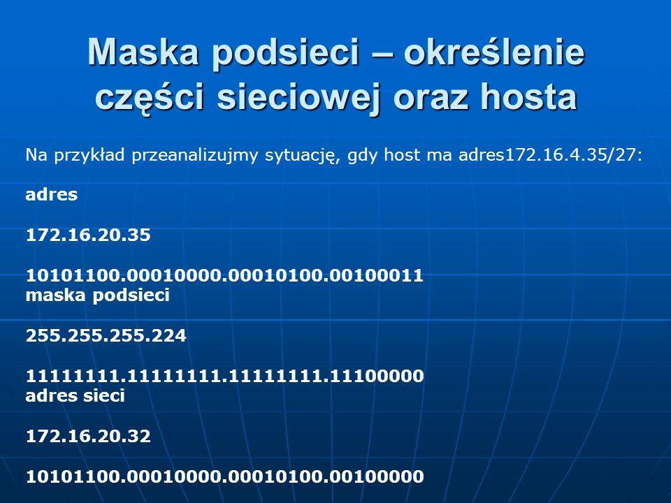 Maska podsieci – określenie części sieciowej oraz hosta