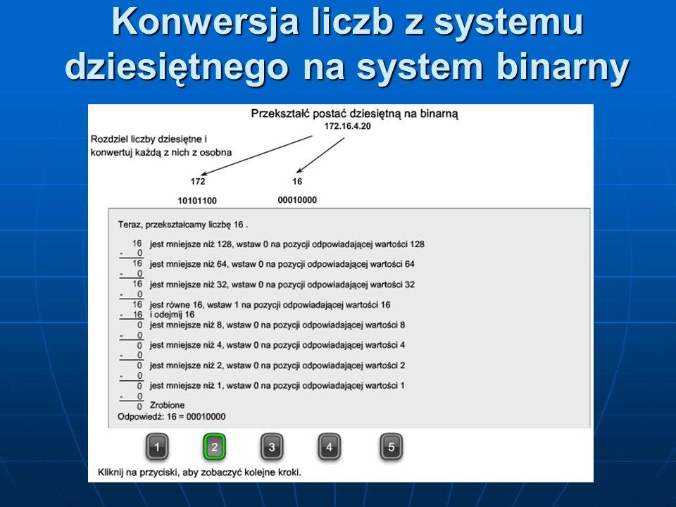 Konwersja liczb z systemu dziesiętnego na system binarny