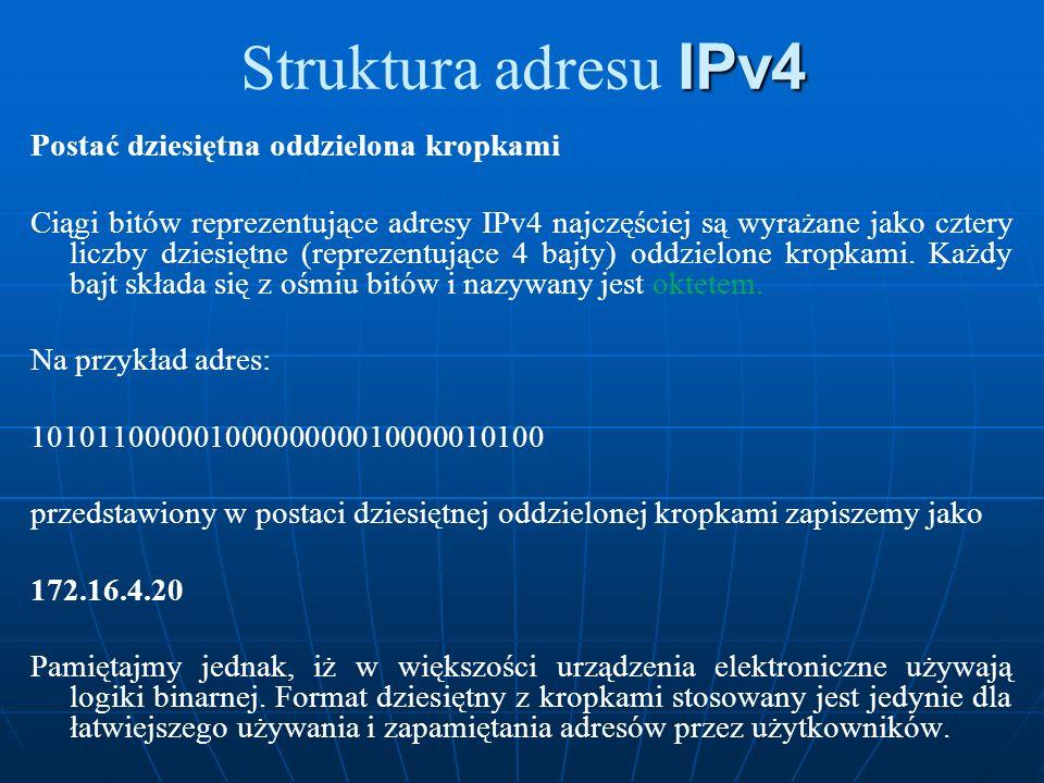 Struktura adresu IPv4 Postać dziesiętna oddzielona kropkami