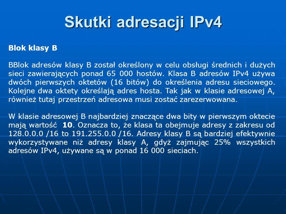 Skutki adresacji IPv4 Blok klasy B