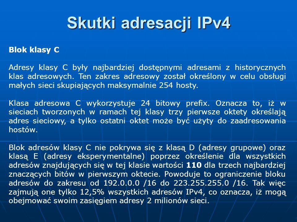 Skutki adresacji IPv4 Blok klasy C