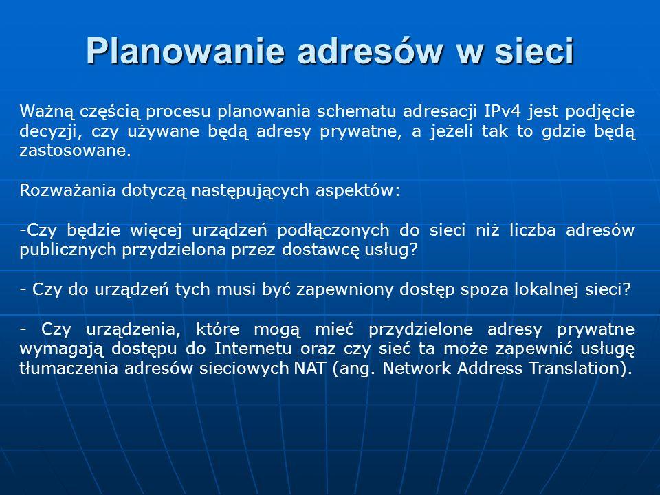 Planowanie adresów w sieci