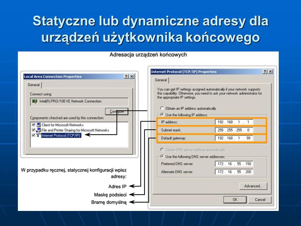 Statyczne lub dynamiczne adresy dla urządzeń użytkownika końcowego