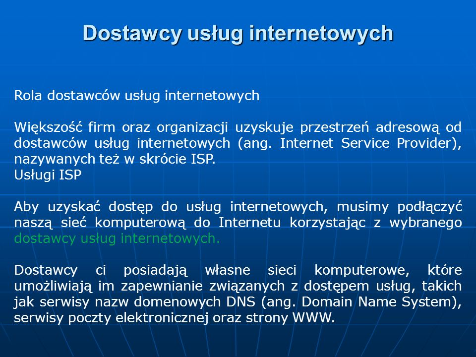 Dostawcy usług internetowych