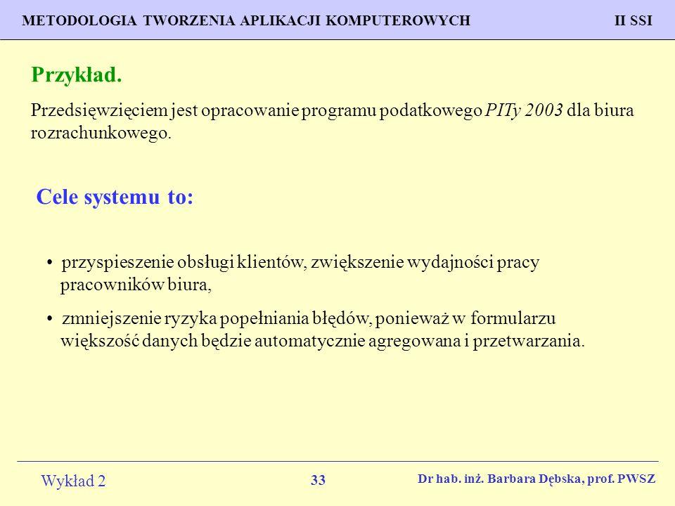 Przykład. Cele systemu to: