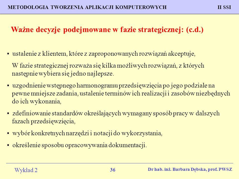 Ważne decyzje podejmowane w fazie strategicznej: (c.d.)