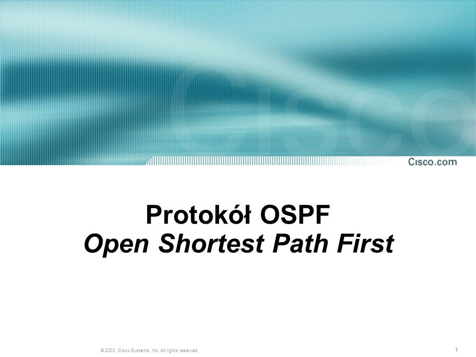 Protokół OSPF Open Shortest Path First