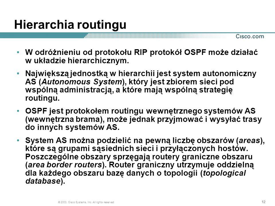 Hierarchia routingu W odróżnieniu od protokołu RIP protokół OSPF może działać w układzie hierarchicznym.