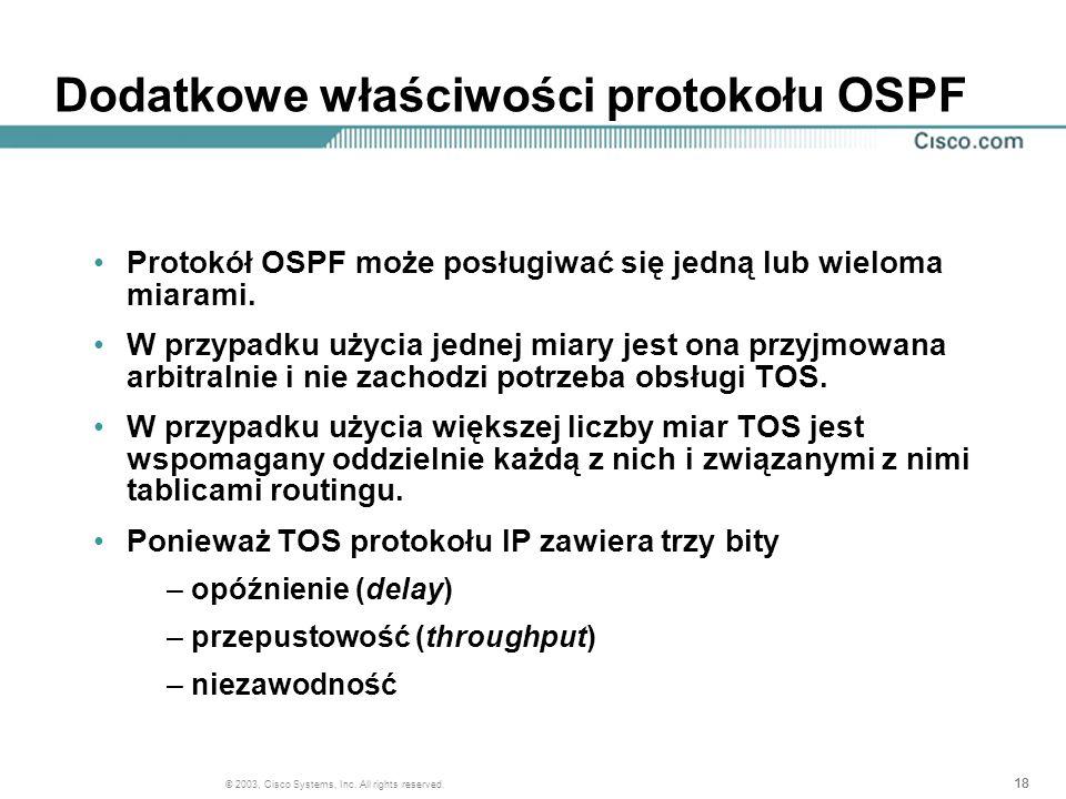 Dodatkowe właściwości protokołu OSPF
