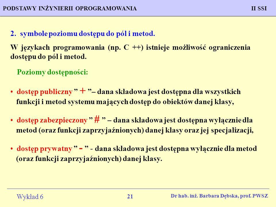 2. symbole poziomu dostępu do pól i metod.
