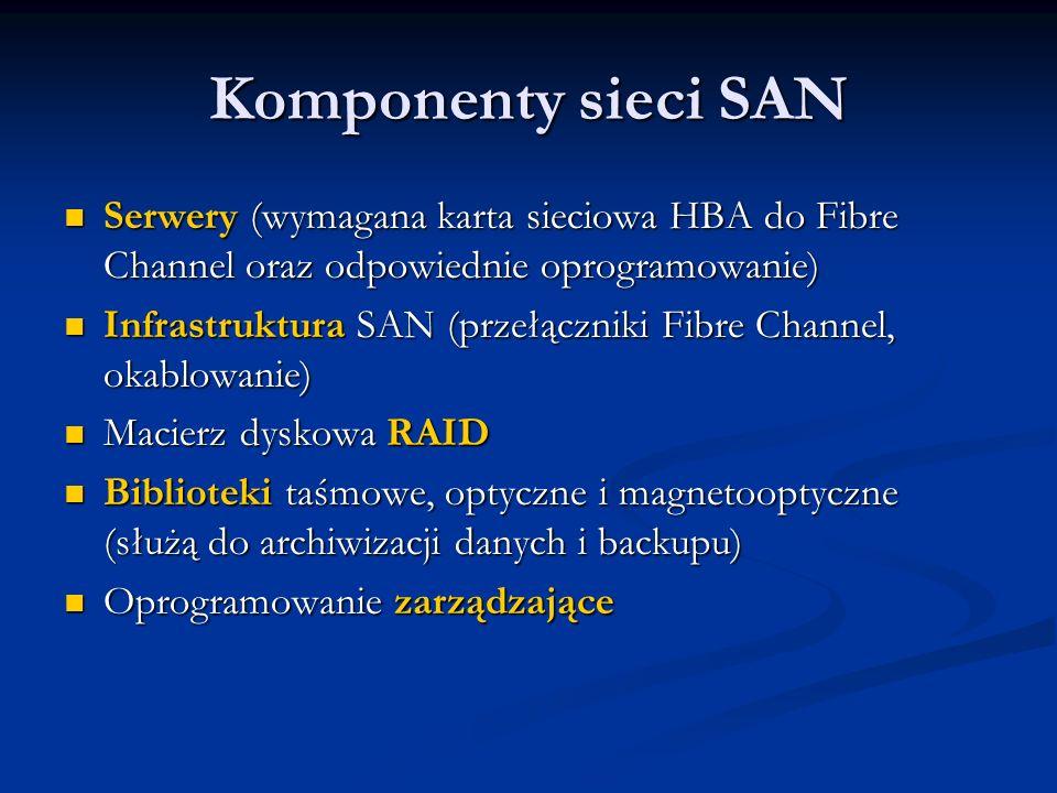 Komponenty sieci SAN Serwery (wymagana karta sieciowa HBA do Fibre Channel oraz odpowiednie oprogramowanie)