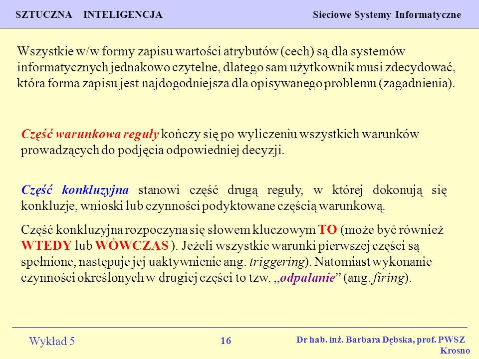 Wszystkie w/w formy zapisu wartości atrybutów (cech) są dla systemów informatycznych jednakowo czytelne, dlatego sam użytkownik musi zdecydować, która forma zapisu jest najdogodniejsza dla opisywanego problemu (zagadnienia).