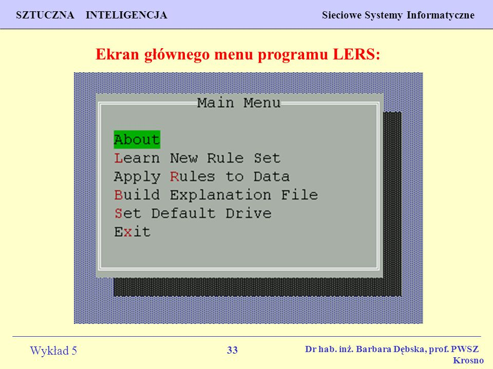 Ekran głównego menu programu LERS: