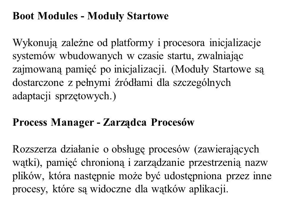 Boot Modules - Moduły Startowe Wykonują zależne od platformy i procesora inicjalizacje systemów wbudowanych w czasie startu, zwalniając zajmowaną pamięć po inicjalizacji.