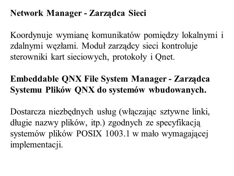 Network Manager - Zarządca Sieci Koordynuje wymianę komunikatów pomiędzy lokalnymi i zdalnymi węzłami.