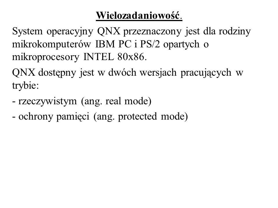 Wielozadaniowość.System operacyjny QNX przeznaczony jest dla rodziny mikrokomputerów IBM PC i PS/2 opartych o mikroprocesory INTEL 80x86.