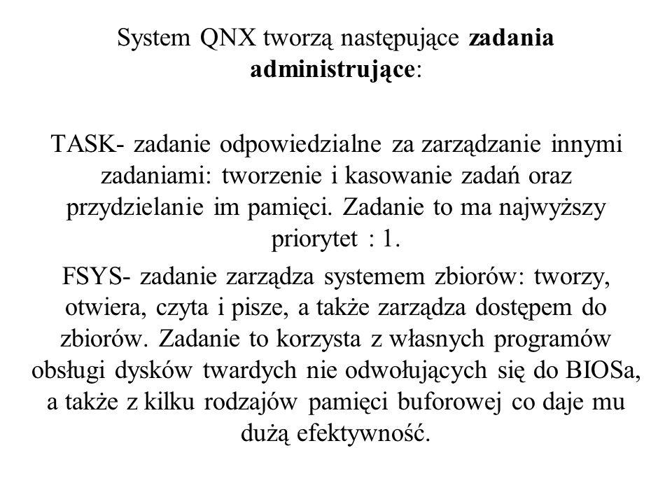 System QNX tworzą następujące zadania administrujące: