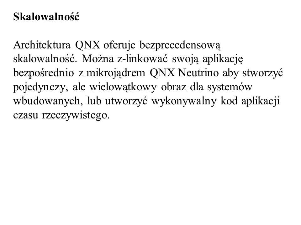 Skalowalność Architektura QNX oferuje bezprecedensową skalowalność