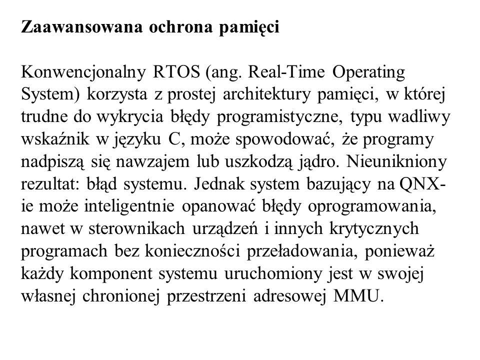 Zaawansowana ochrona pamięci Konwencjonalny RTOS (ang