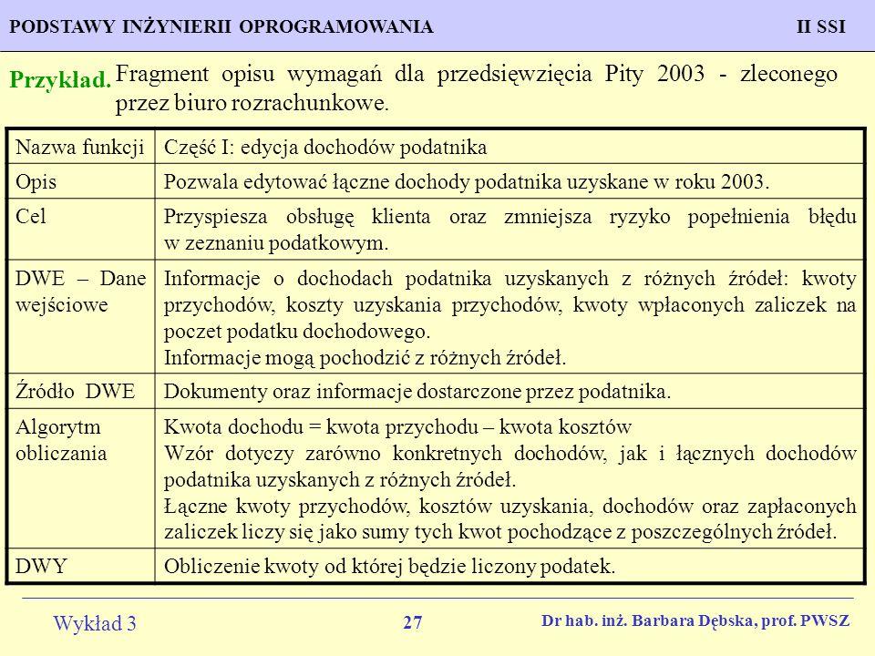 Fragment opisu wymagań dla przedsięwzięcia Pity 2003 - zleconego przez biuro rozrachunkowe.
