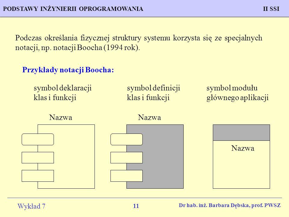 Przykłady notacji Boocha: