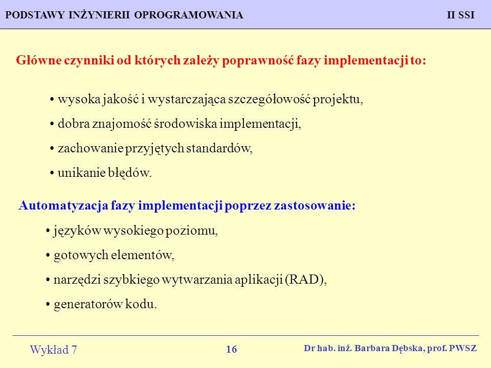 Główne czynniki od których zależy poprawność fazy implementacji to: