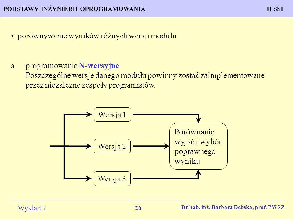 porównywanie wyników różnych wersji modułu.
