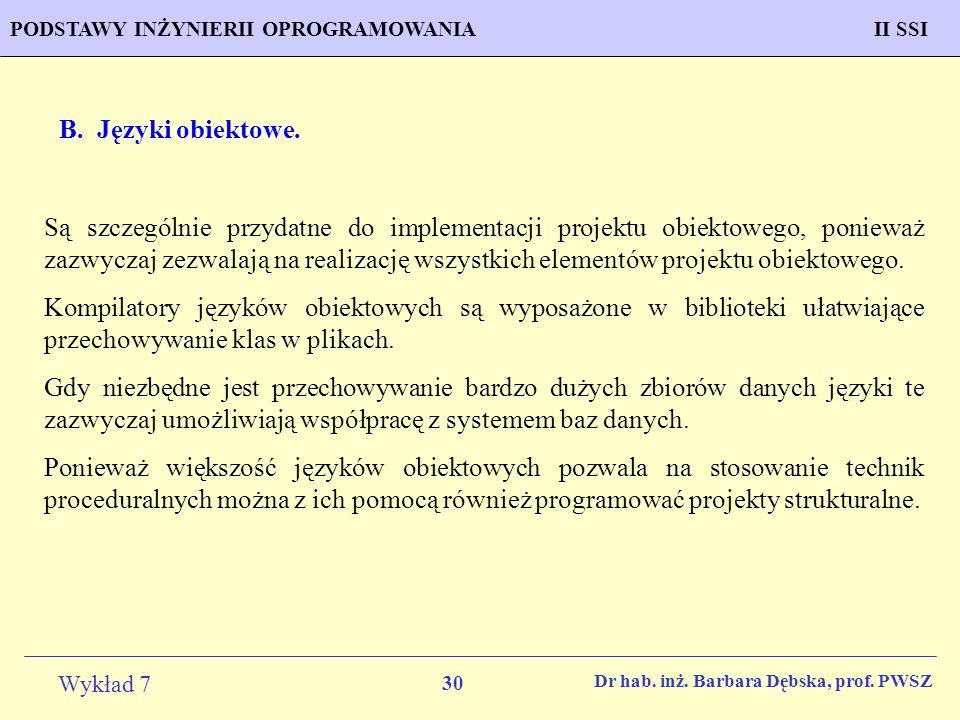 B. Języki obiektowe.