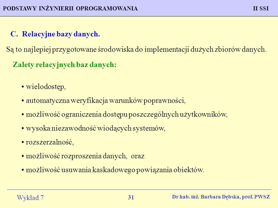 C. Relacyjne bazy danych.