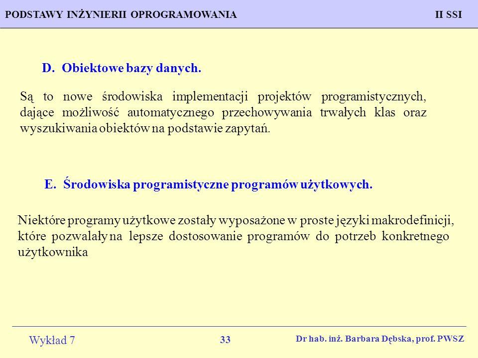 D. Obiektowe bazy danych.