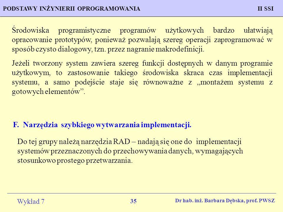 F. Narzędzia szybkiego wytwarzania implementacji.