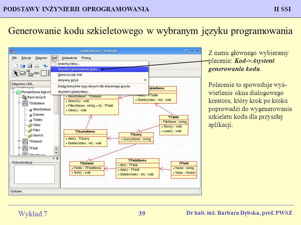 Generowanie kodu szkieletowego w wybranym języku programowania