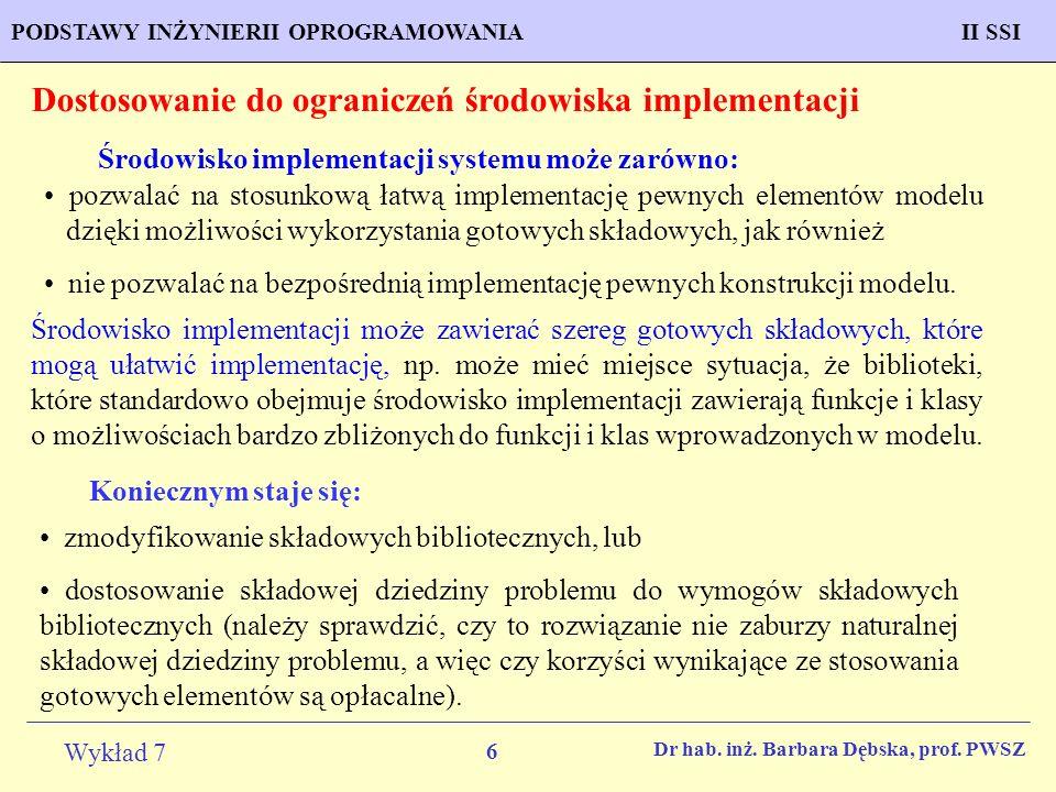 Dostosowanie do ograniczeń środowiska implementacji