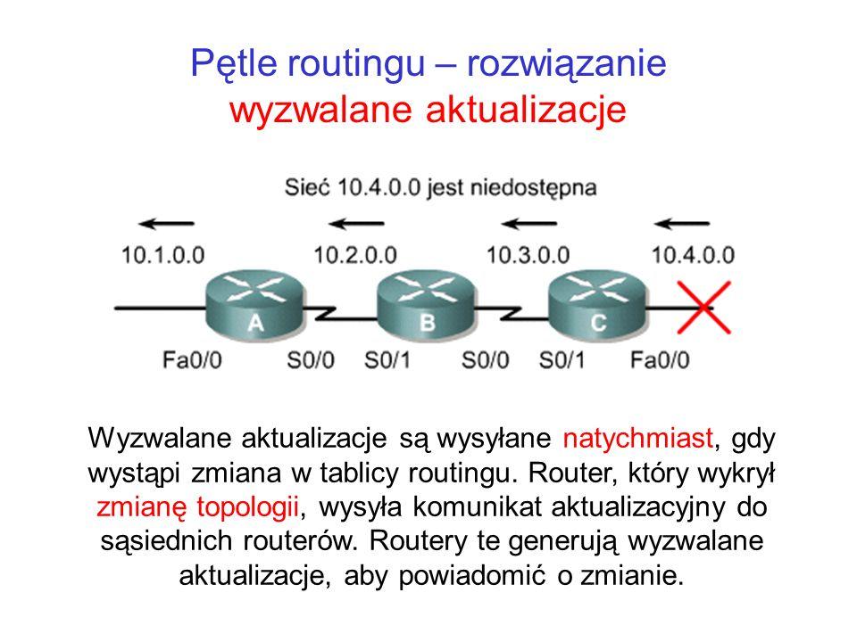 Pętle routingu – rozwiązanie wyzwalane aktualizacje