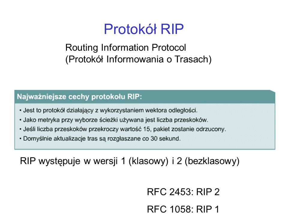 Protokół RIP Routing Information Protocol