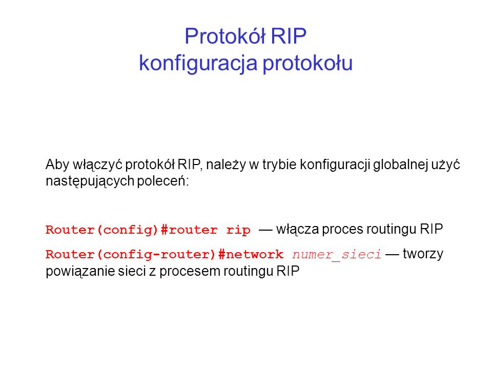 Protokół RIP konfiguracja protokołu
