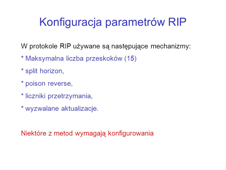 Konfiguracja parametrów RIP
