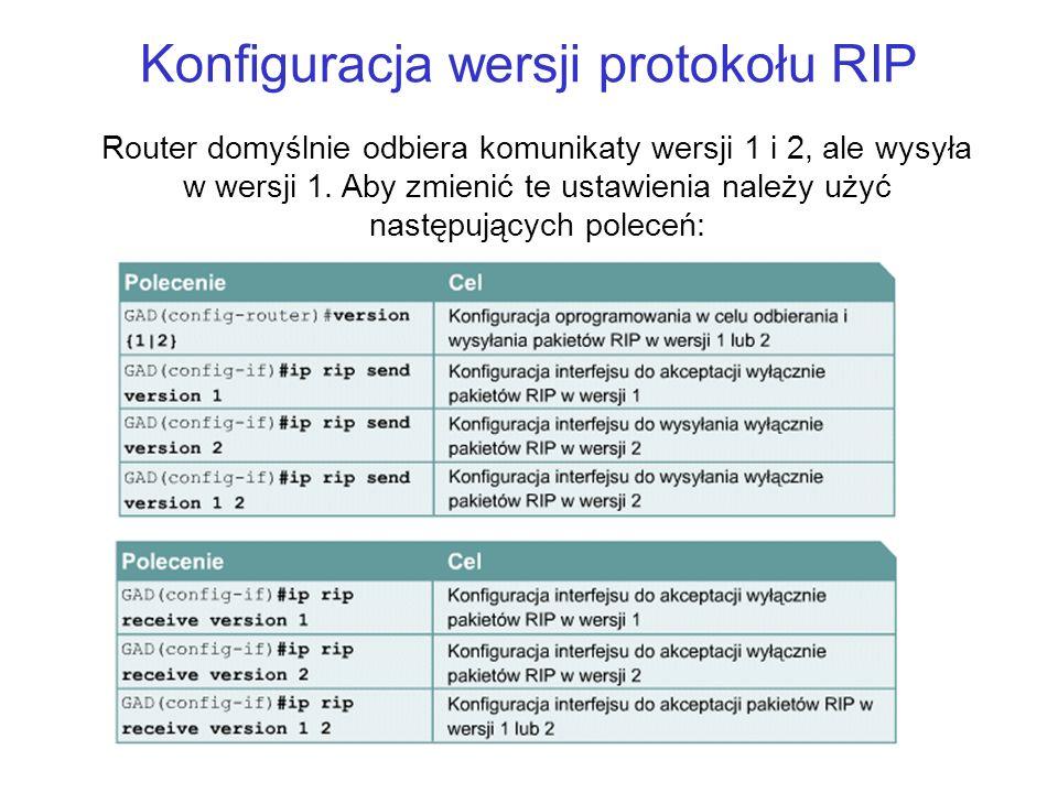 Konfiguracja wersji protokołu RIP