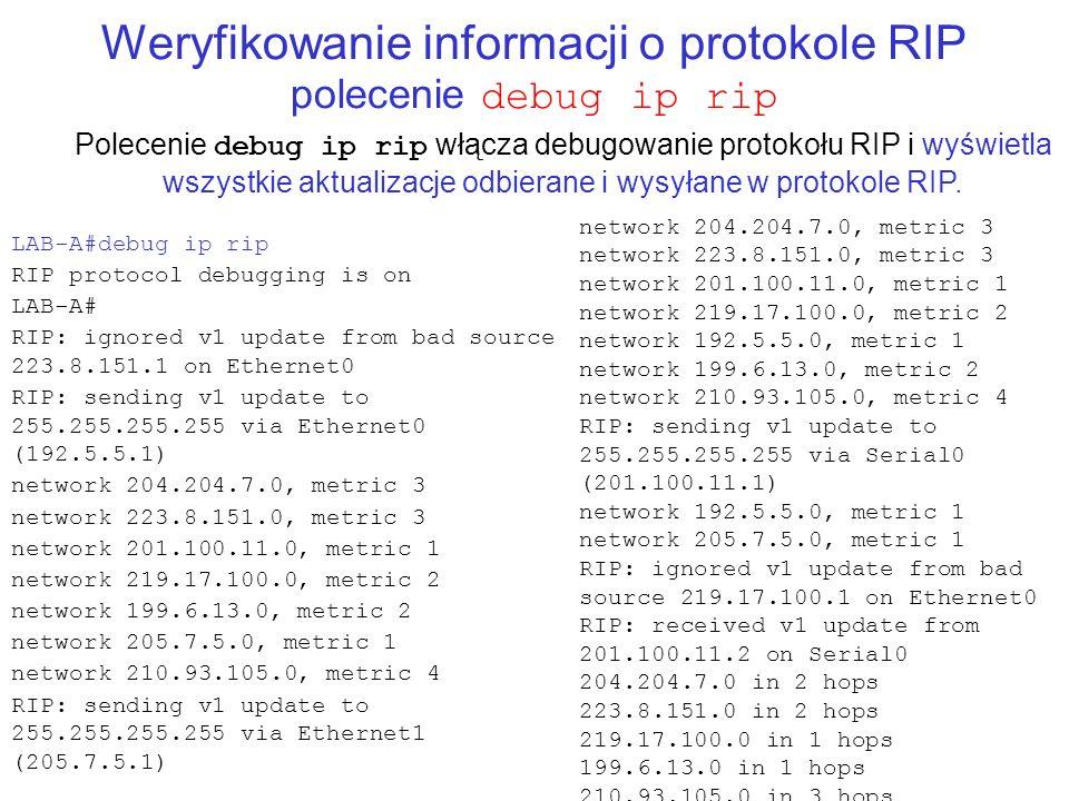 Weryfikowanie informacji o protokole RIP polecenie debug ip rip