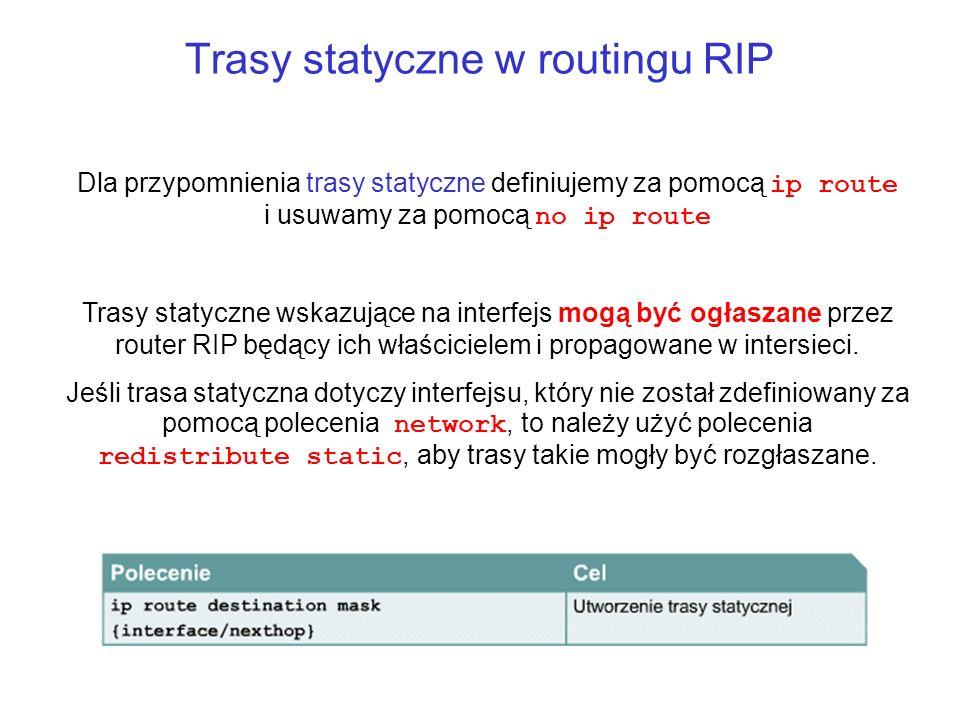 Trasy statyczne w routingu RIP