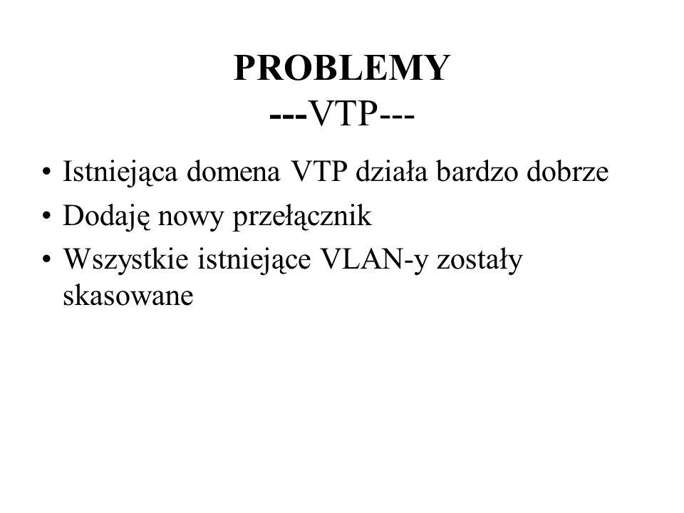 PROBLEMY ---VTP--- Istniejąca domena VTP działa bardzo dobrze