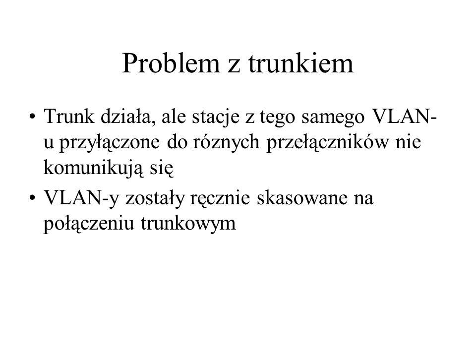 Problem z trunkiem Trunk działa, ale stacje z tego samego VLAN-u przyłączone do róznych przełączników nie komunikują się.