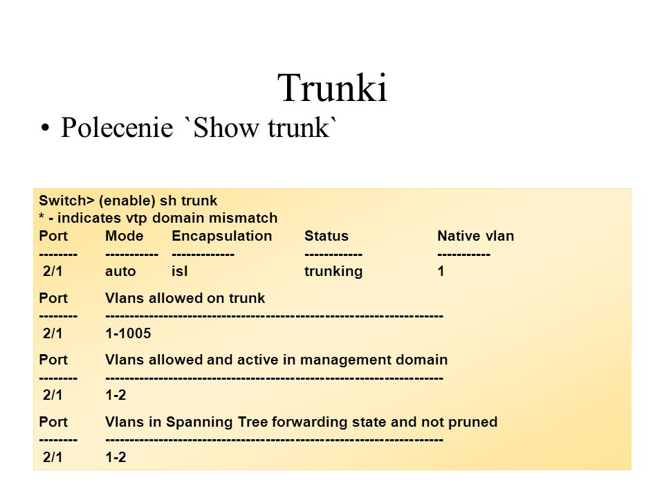 Trunki Polecenie `Show trunk` Switch> (enable) sh trunk