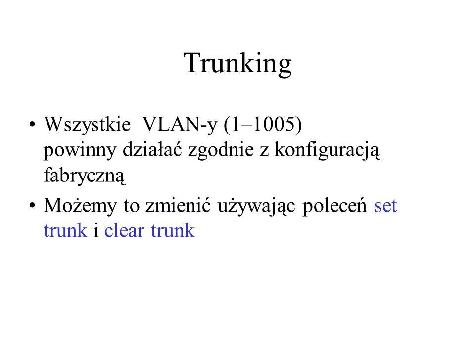 Trunking Wszystkie VLAN-y (1–1005) powinny działać zgodnie z konfiguracją fabryczną.