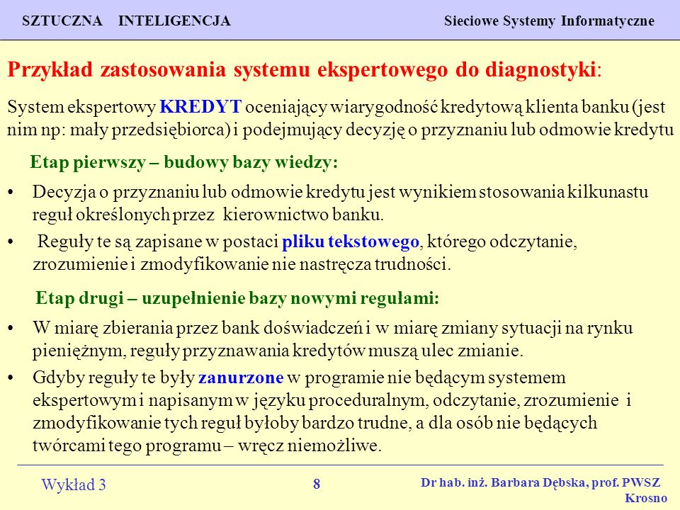 Przykład zastosowania systemu ekspertowego do diagnostyki: