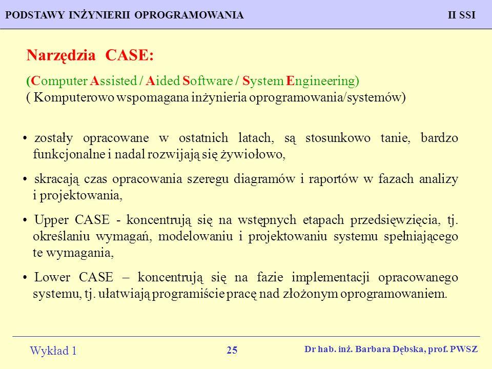 Narzędzia CASE: (Computer Assisted / Aided Software / System Engineering) ( Komputerowo wspomagana inżynieria oprogramowania/systemów)