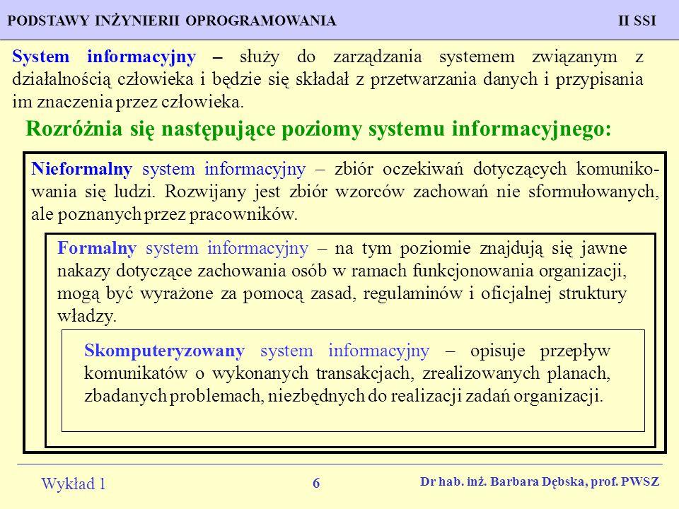 Rozróżnia się następujące poziomy systemu informacyjnego: