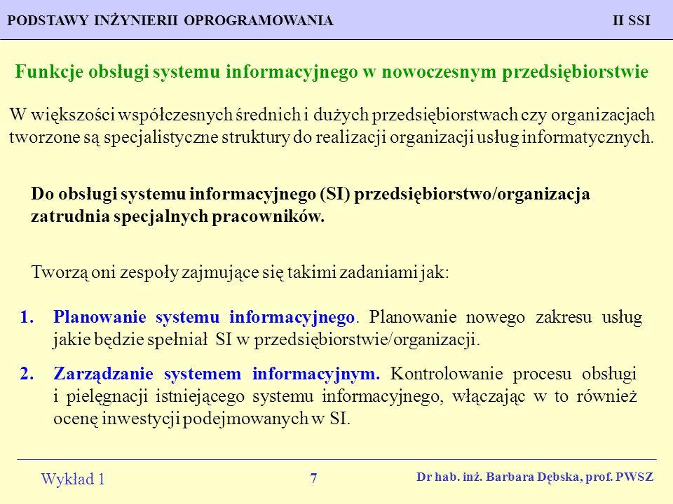 Funkcje obsługi systemu informacyjnego w nowoczesnym przedsiębiorstwie