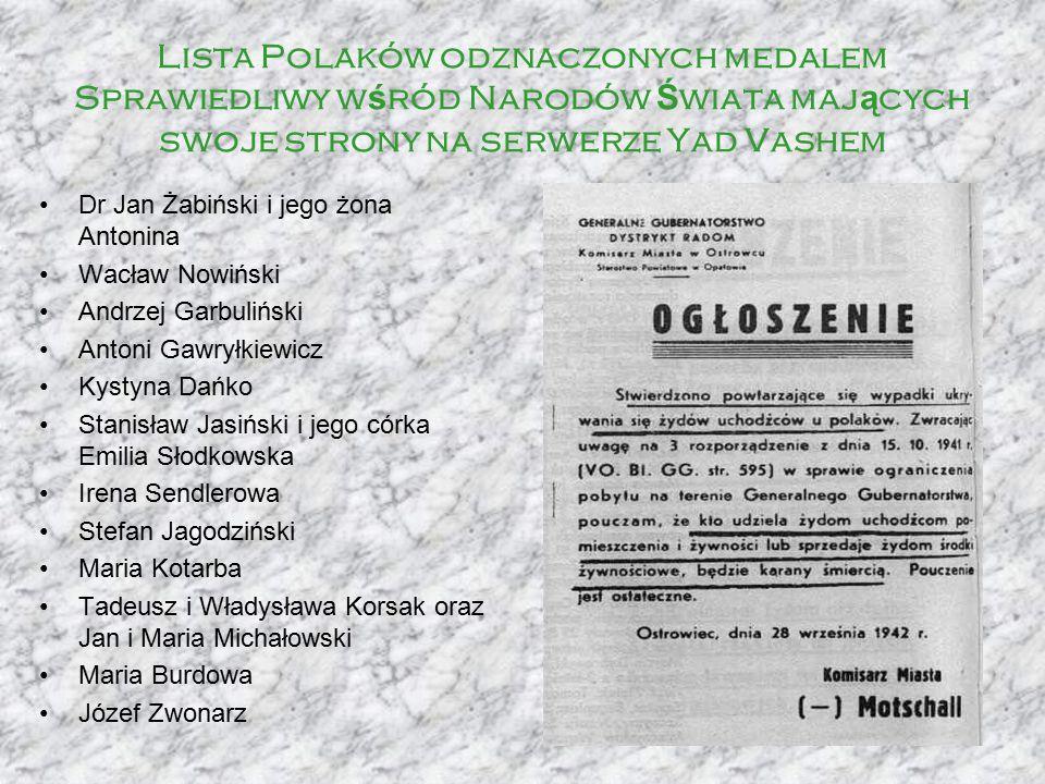 Lista Polaków odznaczonych medalem Sprawiedliwy wśród Narodów Świata mających swoje strony na serwerze Yad Vashem