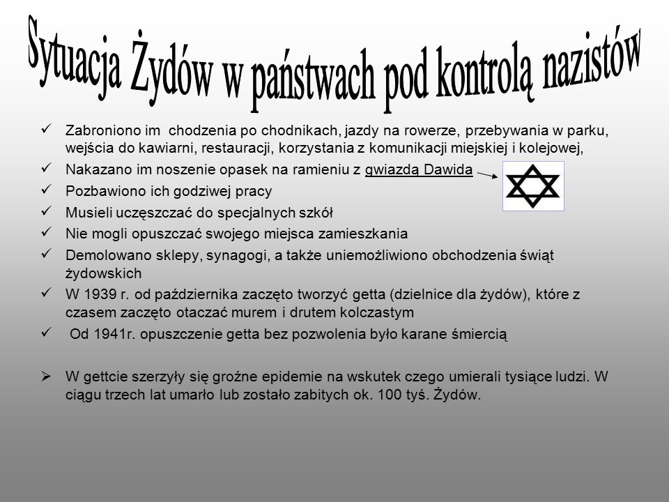 Sytuacja Żydów w państwach pod kontrolą nazistów